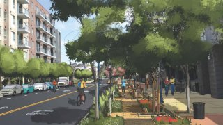 A rendering of the 14th Street promenade