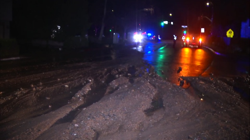 Mud on roadway in Rancho Penesquitos.