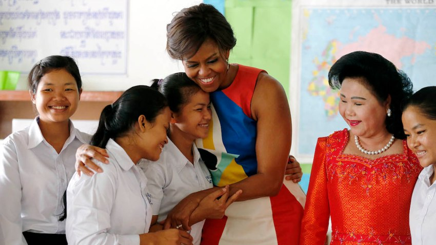APTOPIX Cambodia US Michelle Obama