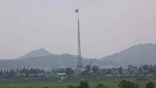 North Korean Flag Flutters