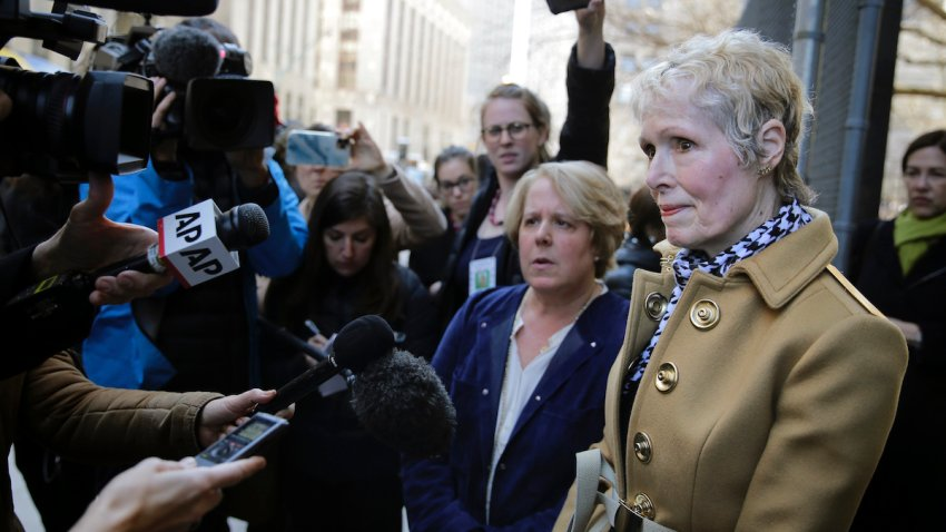 E. Jean Carroll outside a New York courthouse