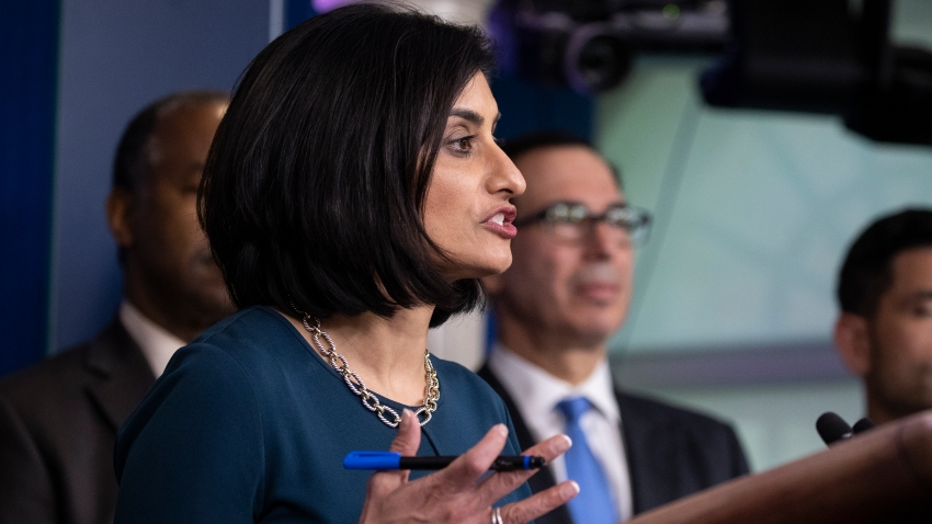 Administrator of the Centers for Medicare and Medicaid Services Seema Verma, speaks during a news conference about the coronavirus in the James Brady Briefing Room at the White House in Washington.