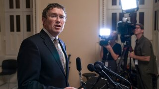 In this Tuesday, May 28, 2019 file photo, Rep. Thomas Massie, R-Ky., speaks to reporters at the Capitol after he blocked a unanimous consent vote on a long-awaited hurricane disaster aid bill in the chamber.