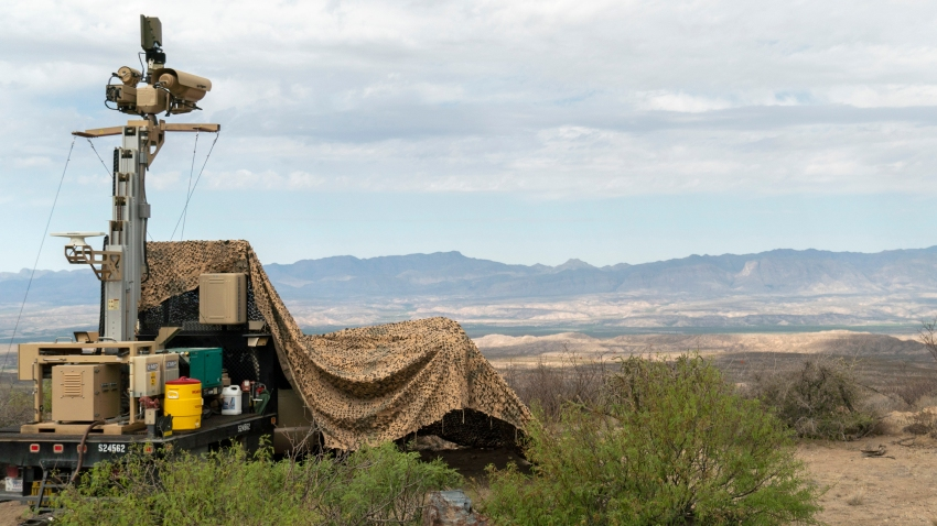 In this April 4, 2019 photo, provided by the U.S. Army, a mobile surveillance camera system manned by soldiers monitors a sector near the Presidio Border Patrol Station at Presidio, Texas.