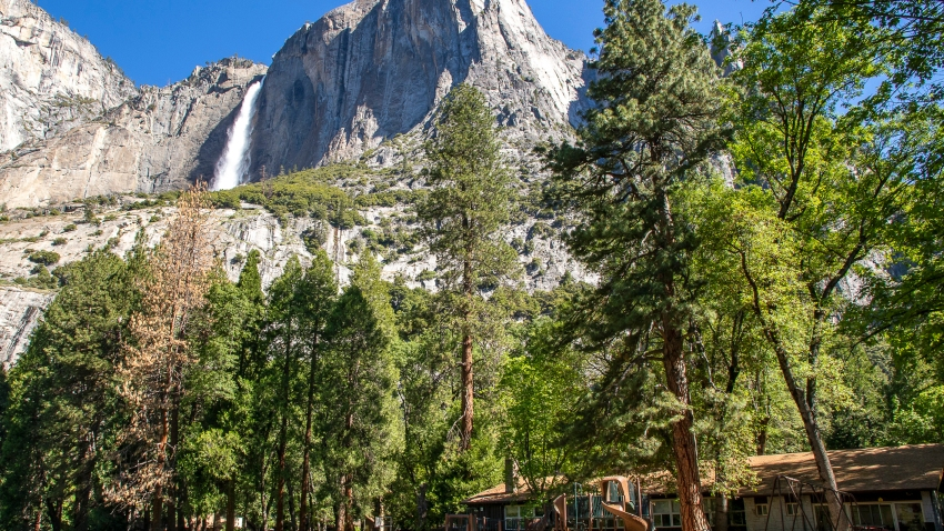 Yosemite Valley School, lower right, stands in Yosemite National Park, Calif.