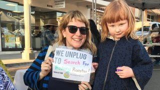 Image of a mom and daughter at the Unplugged Village Event