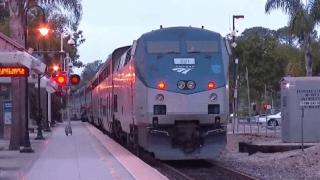 Amtrak train at station