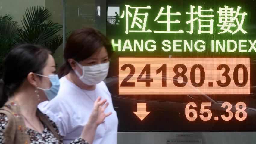In this May 13, 2020, file photo, pedestrians wearing face masks walk past an electronic screen displaying the Hang Seng Index in Hong Kong, China.