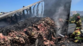 The truck that caught on fire was hauling more than 20 tons of beef, according to Lakeside Fire officials.