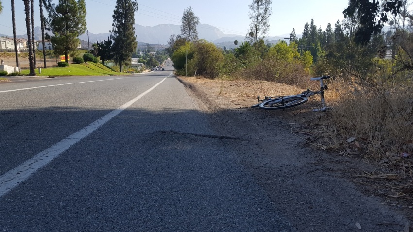 Photo of location where Mylene Hyunh fell on broken bike lane