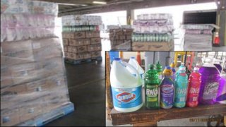 Tampered cleaning supplies seized by the CBP in El Paso.
