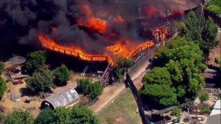 A house in El Cajon on fire.