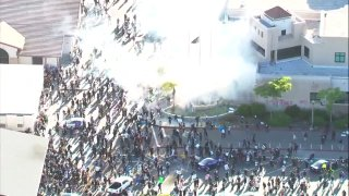 Chopper footage shows tear gas used during a protest in La Mesa on March 30.