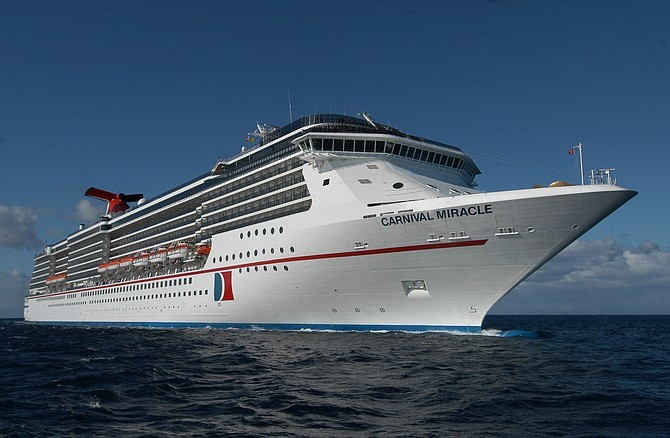 Carnival Cruise Line's ship, Miracle, on the move