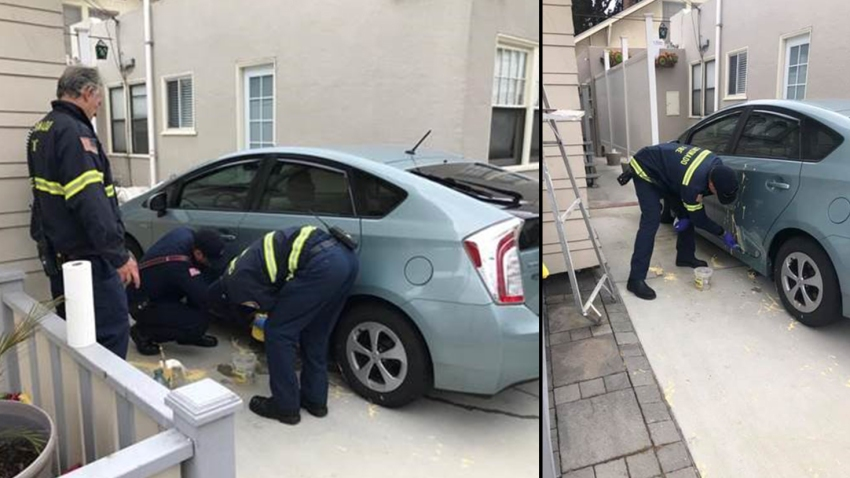 Coronado Fire Department cleans car