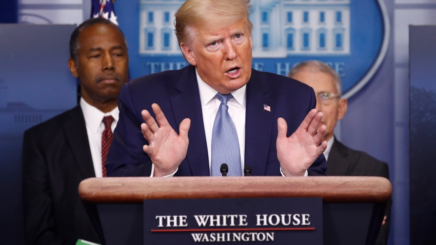 In this March 21, 2020, file photo, President Donald Trump speaks during a coronavirus task force briefing at the White House in Washington, DC.