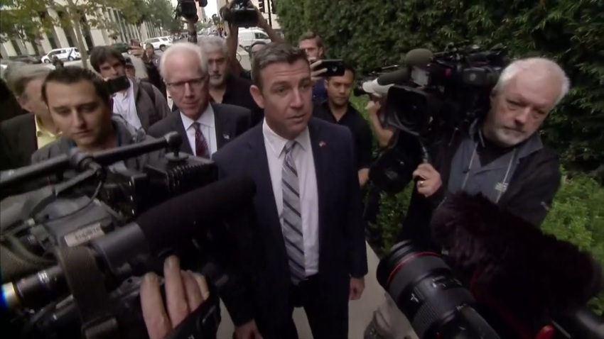 Duncan Hunter arrives at San Diego federal courthouse.
