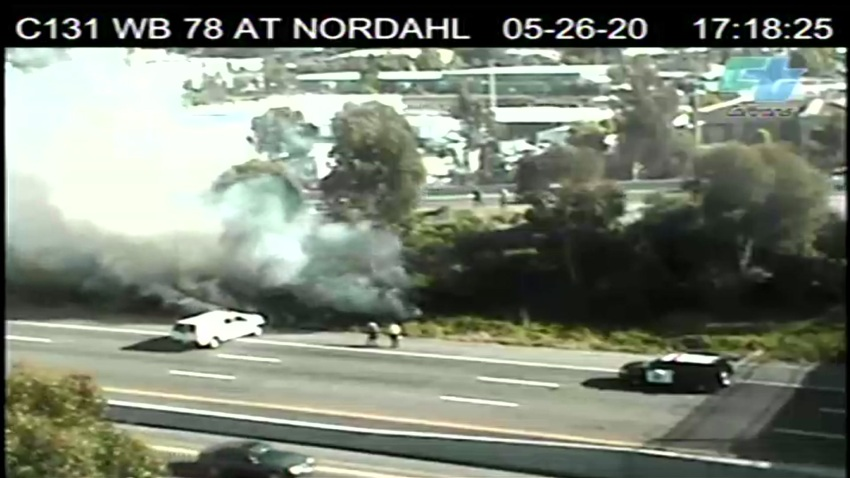 A brush fire alongside SR-78.