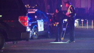 The scene of a deadly pedestrian-vehicle collision in Mira Mesa.