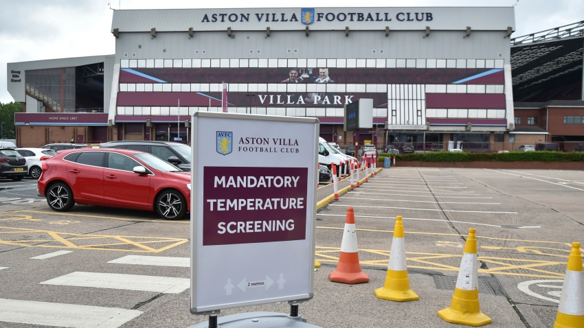 A view of a sign at Villa Park stadium, a day ahead of the English Premier League soccer match between Aston Villa and Sheffield United, as the league resumes play after a 100-day pandemic-enforced shutdown at Villa Park in Birmingham, England, Tuesday, June 16, 2020.