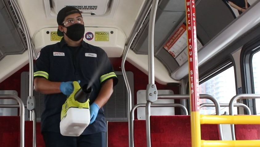 Vital Oxide being sprayed on an MTS bus