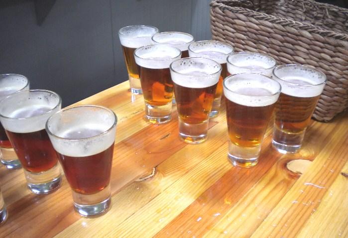 Gallery beer samples on bar