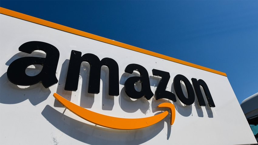 This July 23, 2019, file photo shows the Amazon logo at the entrance area of the Amazon logistics centre in Amiens, northern France.