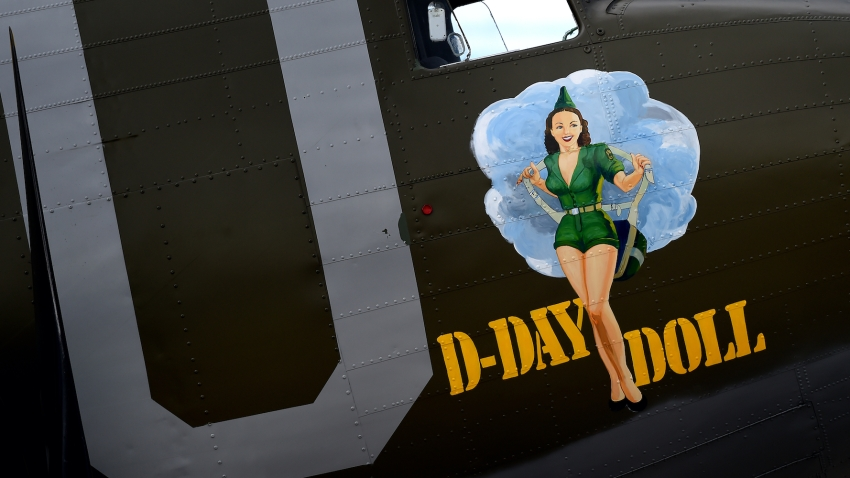 The D-Day Doll sits on display at the San Bernardino International Airport.