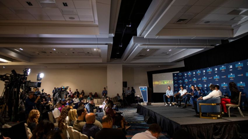 A press conference is held to announce the 2019 All-MLB Team during the 2019 Major League Baseball Winter Meetings on December 10, 2019 in San Diego, California.