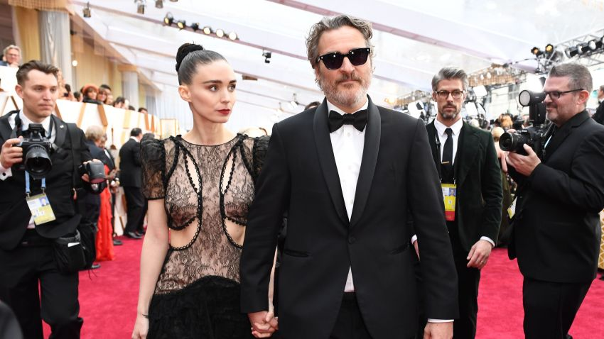 Joaquin Phoenix and Rooney Mara arrive for the 92nd Oscars at the Dolby Theatre in Hollywood, California, on Feb. 9, 2020.