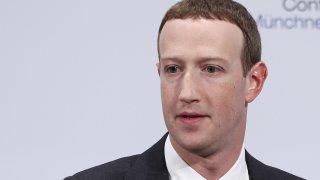 Mark Zuckerberg speaks during the Munich Security Conference at the Bayerischer Hof hotel in Munich, Germany, on Feb. 15, 2020.