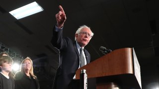 Democratic presidential candidate Sen. Bernie Sanders addresses supporters during his caucus night watch party on February 03, 2020 in Des Moines, Iowa.