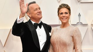 Tom Hanks and Rita Wilson attend the 92nd Annual Academy Awards at Hollywood and Highland on Feb. 9, 2020, in Hollywood, California.