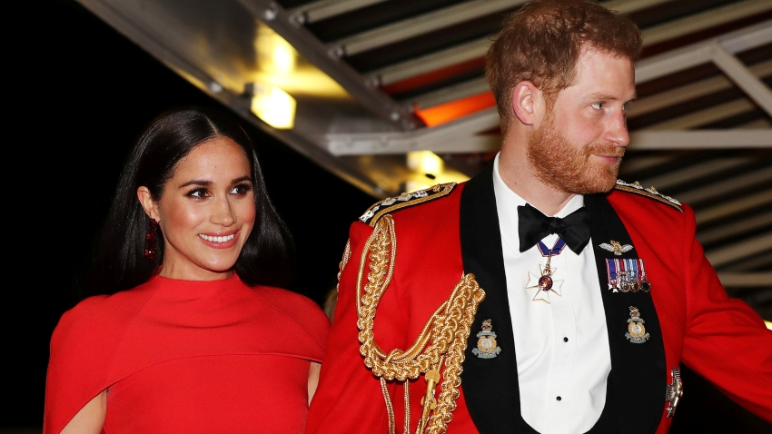 In this March 7, 2020, file photo, Prince Harry, Duke of Sussex, and Meghan, Duchess of Sussex, arrive to attend The Mountbatten Festival of Music at the Royal Albert Hall in London.