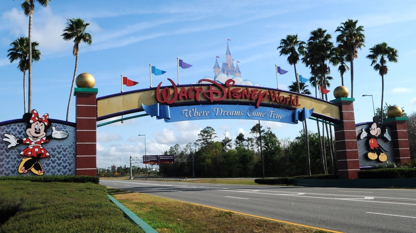 The entrance to Disney World is deserted on the first day of closure as theme parks in the Orlando area suspend operations for two weeks in an effort to curb the spread of the coronavirus (COVID-19).