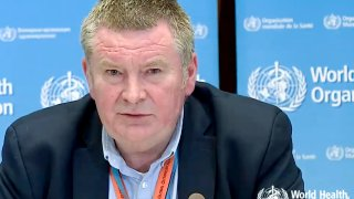 A TV grab taken from the World Health Organization website shows World Health Organization (WHO) Health Emergencies Programme Director Michael Ryan delivering a virtual news briefing on COVID-19 (novel coronavirus) at the WHO headquarters in Geneva on March 23, 2020.