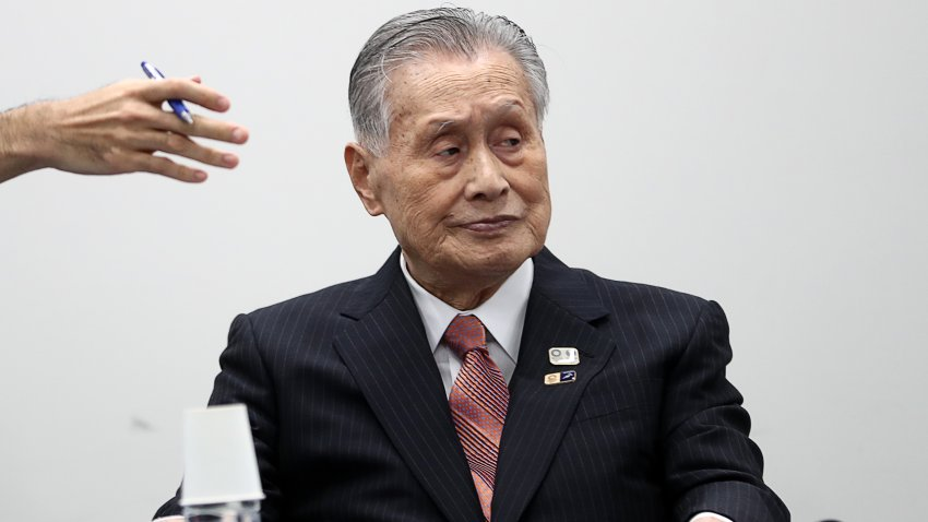 In this March 24, 2020, file photo, Tokyo 2020 president Yoshiro Mori attends a press conference in Tokyo.
