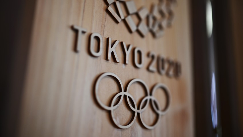 In this March 30, 2020, file photo, the Tokyo 2020 logo is pictured in Sagamihara.