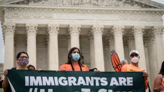 DACA recipients and their supporters rally outside the U.S. Supreme Court on June 18, 2020 in Washington, DC. On Thursday morning, the Supreme Court, in a 5-4 decision, denied the Trump administration's attempt to end DACA, the Deferred Action for Childhood Arrivals program.