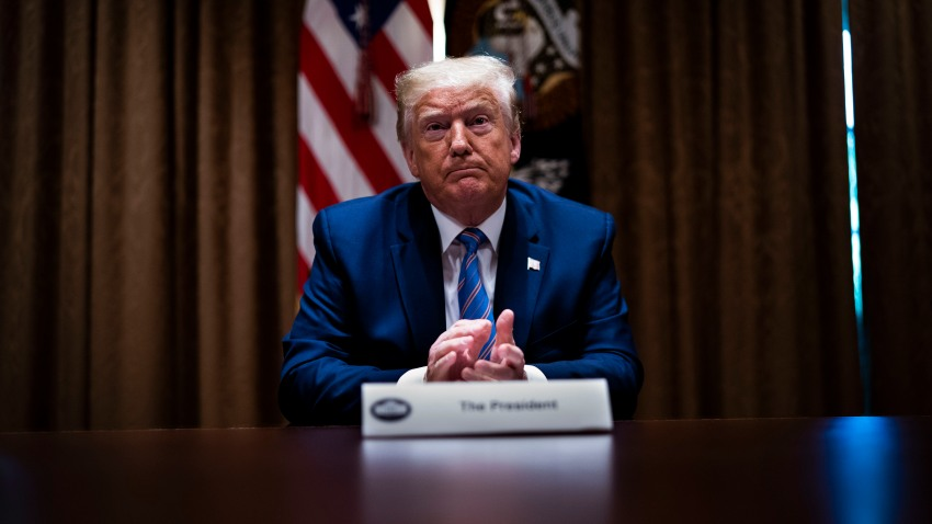 """U.S. President Donald Trump listens during a roundtable on """"Fighting for America's Seniors"""" at the Cabinet Room of the White House June 15, 2020 in Washington, DC."""
