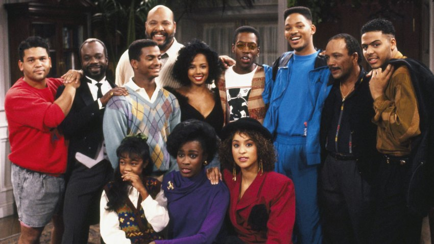 """In this undated file photo, the cast and producers of """"The Fresh Prince of Bel-Air"""" are seen on the set of the show."""