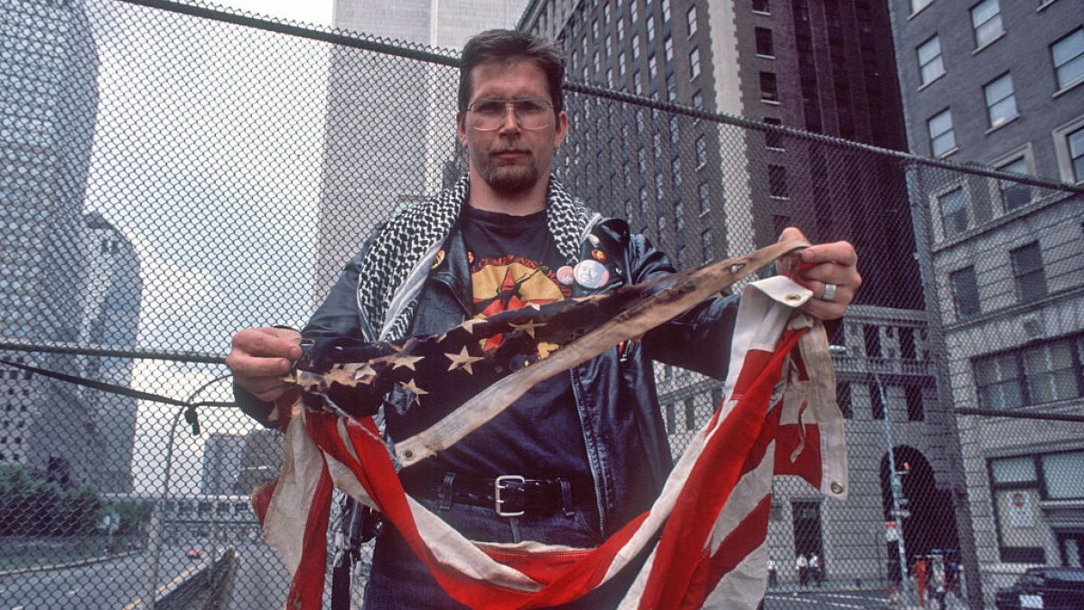 Activist Who Won Right to Burn American Flag Burns 3 Flags in Hollywood in Protest of President Trump
