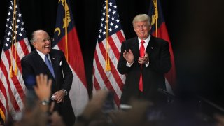 President Donald Trump and Rudy Giuliani at a 2016 campaign rally