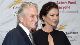In this file photo, Michael Douglas and Catherine Zeta-Jones attend The Actor's Fund Career Transition For Dancers 2017 Jubilee Gala at Marriott Marquis Hotel on November 1, 2017 in New York City.