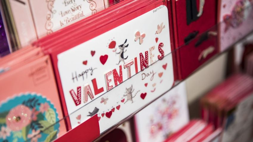 Valentines Day cards on display