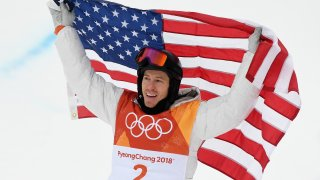 In this Feb. 14, 2018, file photo, gold medalist Shaun White of the United States celebrates during the Snowboard Men's Halfpipe Final on day five of the PyeongChang 2018 Winter Olympics at Phoenix Snow Park in Pyeongchang-gun, South Korea.