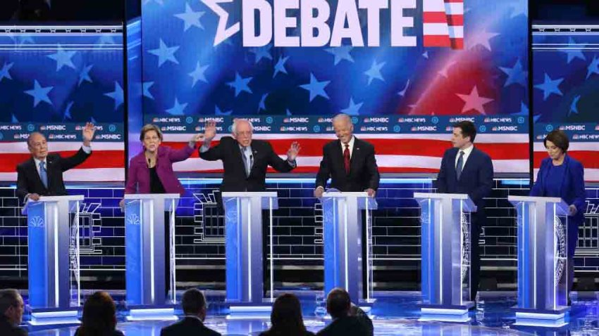 Democratic presidential candidates appear on stage in Las Vegas, Feb. 19, 2020, for the ninth Democratic presidential primary debate.
