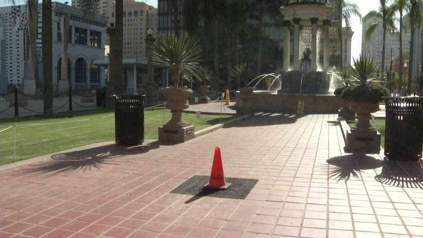 The former site of a Robert E. Lee marker at Horton Plaza was removed.