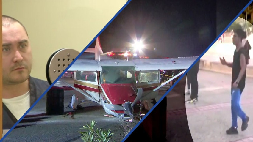 A picture of three past stories this week that include a plane on the freeway, and two men convicted of crimes