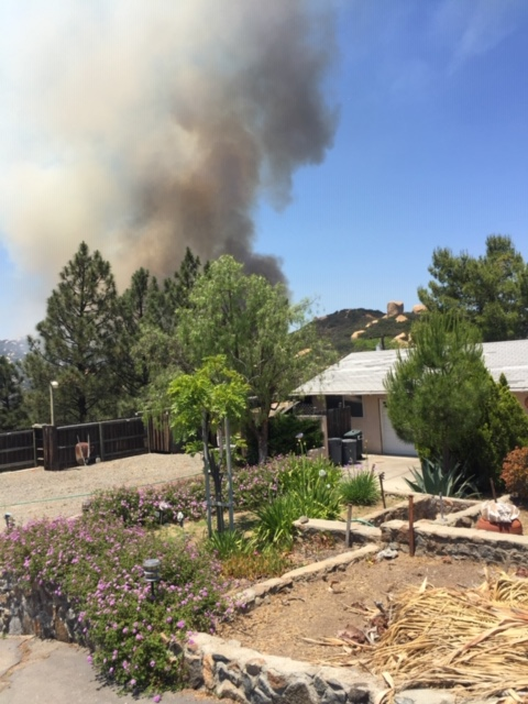 Skyline Fire behind homes